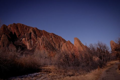 View of Red Rocks along the trail