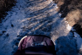 Packed snow/ice along the route
